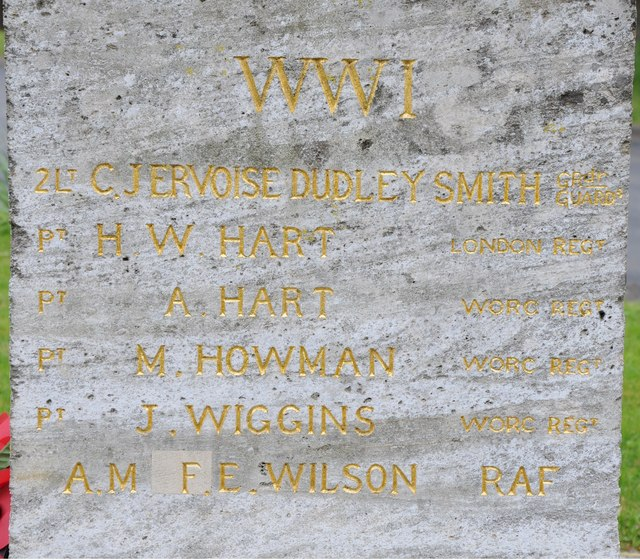 Names on Strensham War Memorial WWI