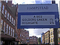 TQ2685 : Pre-Worboys direction sign on Hampstead High Street by David Howard