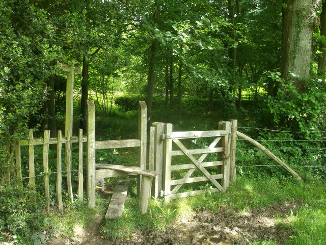 Stile and gate on High Weald Landscape Trail in Jockey's Wood