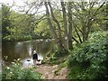 NJ8400 : Looking upstream a backwater of the River Dee by Stanley Howe
