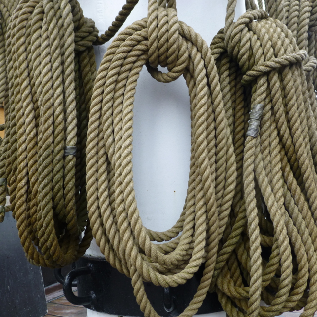 Ropes at the foot of the mainmast
