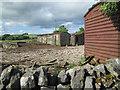 SK1359 : Crossland Sides: chicken run with railway vans by John Sutton