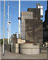 NT2674 : Lamps and flagstaffs at entrance to St Andrew's House, Regent Road by Robin Stott