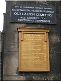 NT2674 : Signs at the entrance to Old Calton Cemetery, Waterloo Place by Robin Stott