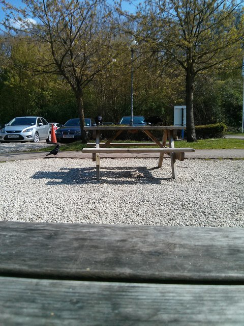Picnic benches outside Warwick services (northbound)