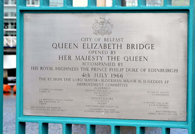 Queen Elizabeth Bridge opening plaque, Belfast