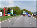 SP2664 : A46 (Warwick Bypass) Passing Leasowes Service Area by David Dixon