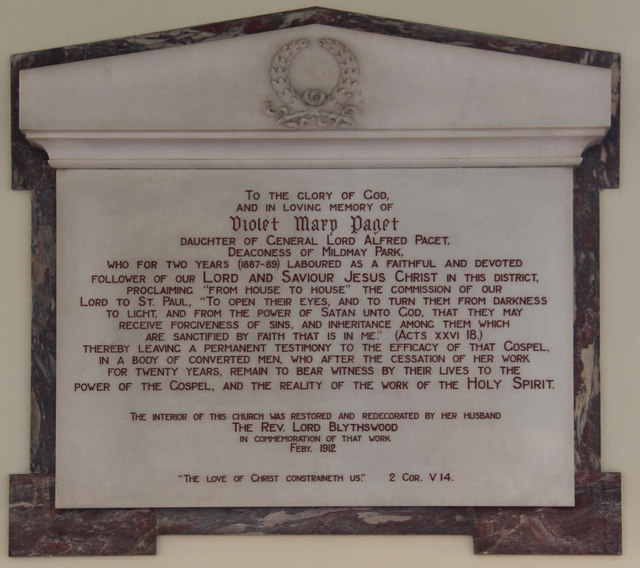 St Andrew, Thornhill Square, Barnsbury - Wall monument