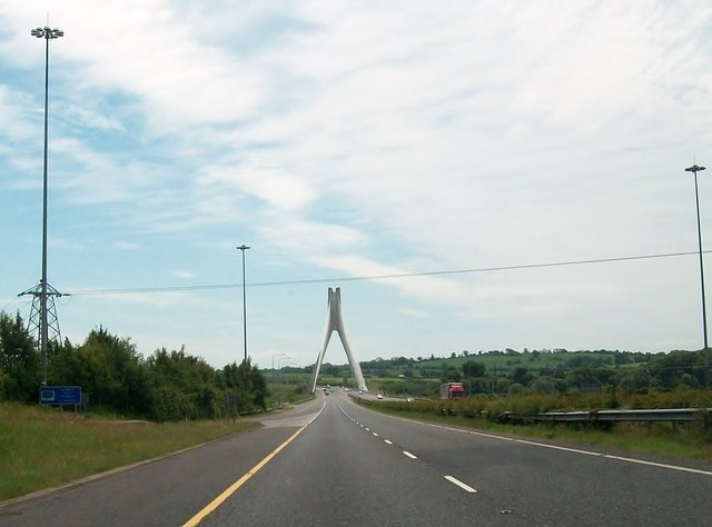 Power-lines crossing the M1 just north of the Mary McAleese Boyne Valley Bridge.