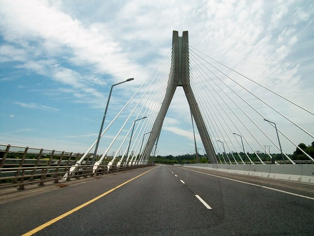 Crossing the newly renamed Mary McAleese Boyne Valley Bridge.