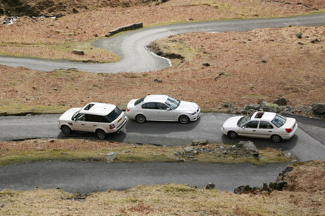 Negotiating hairpins on Hardknott Pass