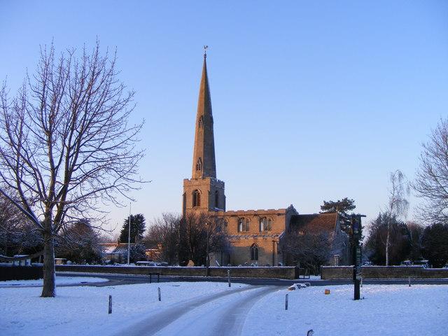St. Benedict's Church, Glinton, in the winter