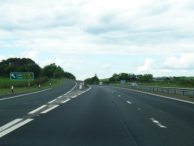 B746 leaves the A78 northbound