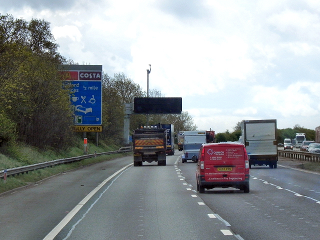 Approaching Stafford Services (Southbound)