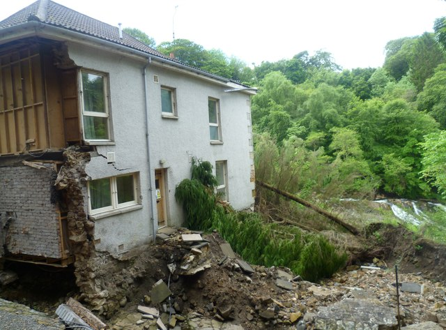 """Storm's House"" flood damage, Dura Den"