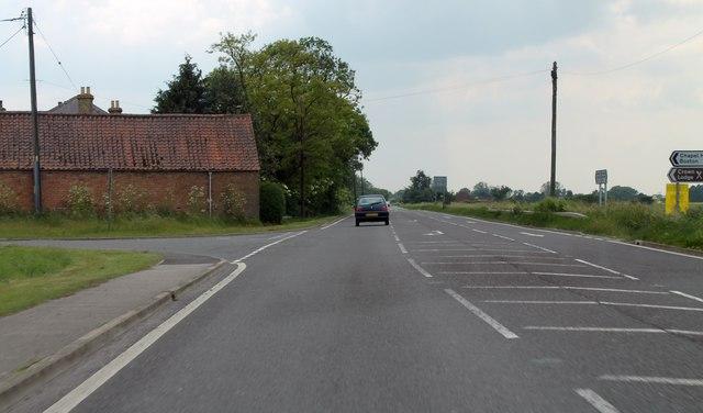Junction of Twenty Foot Bank on A153