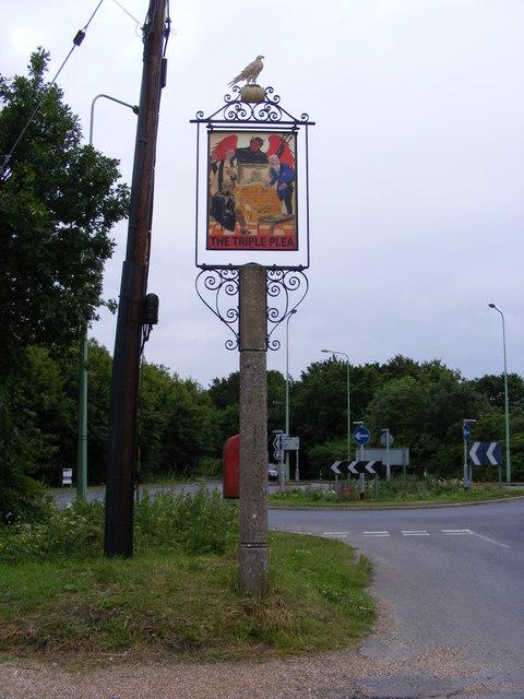 The Triple Plea Public House sign