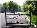 NY3958 : Decorative gate, Kingstown Wildlife Pond by Rose and Trev Clough