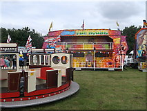 TQ7668 : Funhouse and train ride, Great Lines Heritage Park by David Anstiss