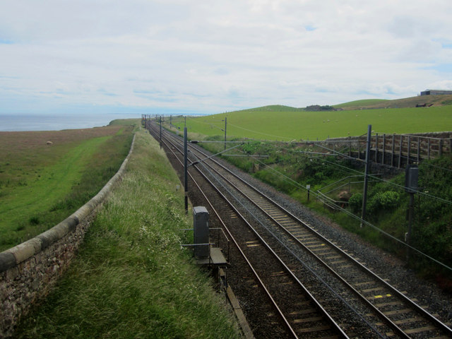 Looking south along the East Coast Mainline near Maryfield