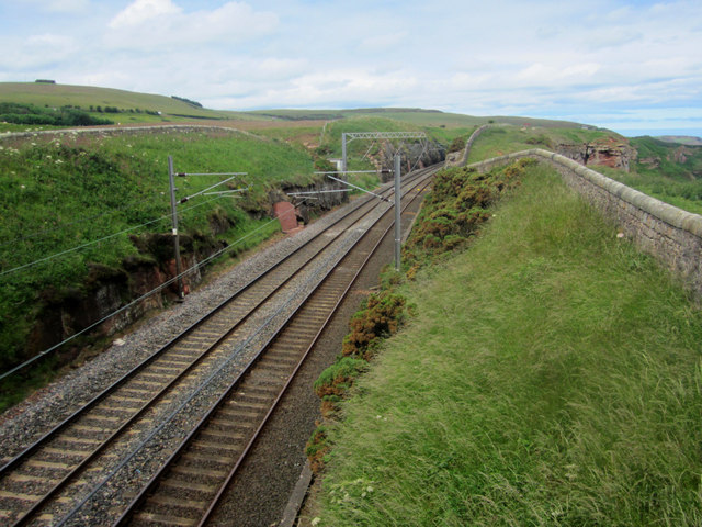 Looking north along the East Coast Mainline near Maryfield