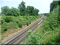 TQ5957 : The Otford to Maidstone East railway line from Fen Pond Road by Marathon