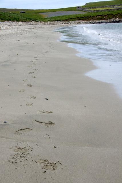 Footprints on Lund beach