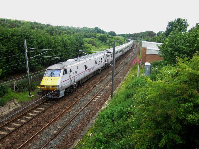 Train heading north on the East Coast Mainline through Burnmouth