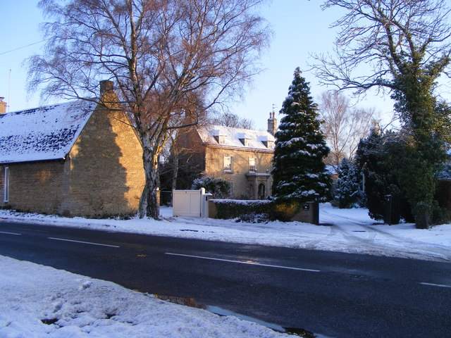 Peakirk Road, Glinton, in the winter