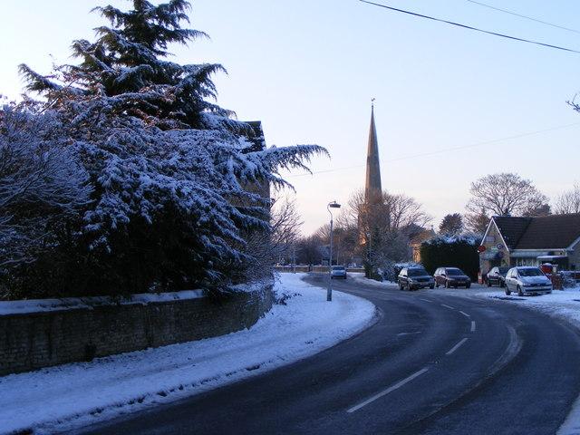 High Street, Glinton, in the winter
