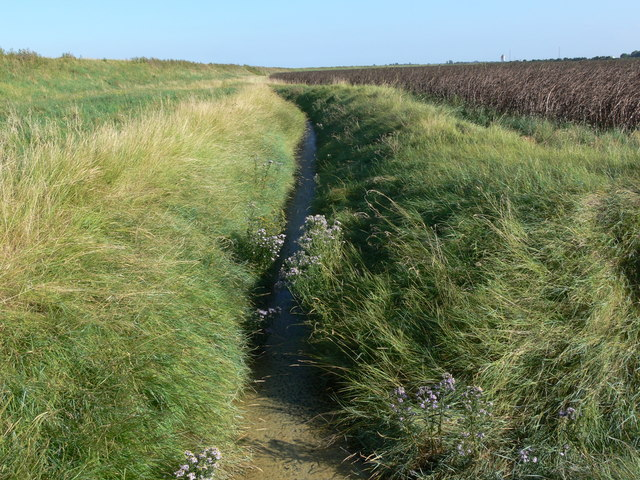 Drainage ditch behind the sea bank