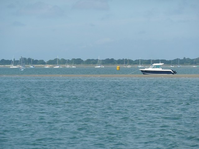 Boat moored off Pilsey Sand