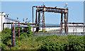 J3675 : Gantry and pipes, Belfast harbour by Albert Bridge