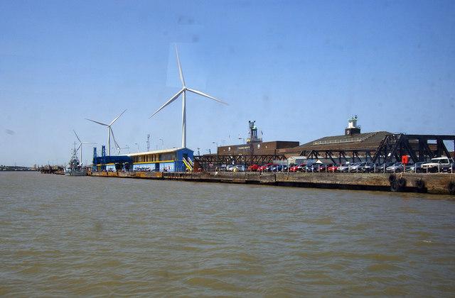 Wind turbines and London International Cruise Terminal