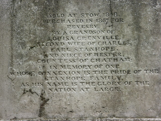 Inscription on the plinth for the Chatham Vase