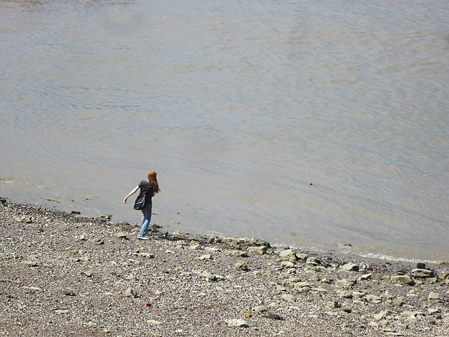 Skimming stones on the River Thames