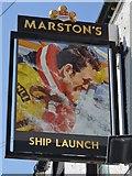 SH5873 : Sign at Ship Launch PH by John M