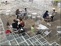 TQ2679 : Café tables and chairs, Serpentine Gallery Pavilion 2013 by David Hawgood