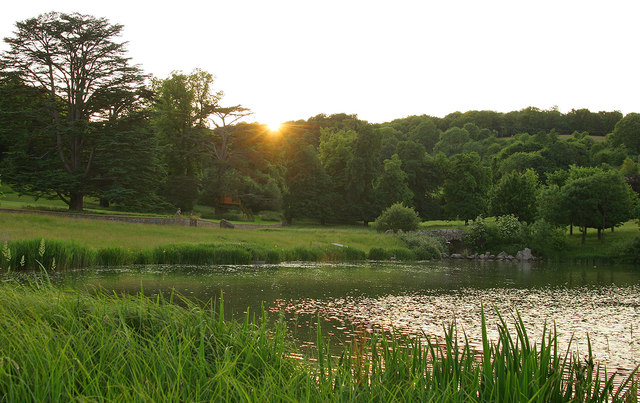 Sunset over Wormsley Park lake