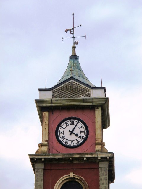 The clock tower at the (former) Town Hall, St. Hilda's