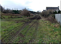 SO6302 : Muddy track on the north side of Lydney cemetery by Jaggery