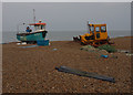 TM4656 : Fishing boat & tractor, Aldeburgh beach by Ian Taylor