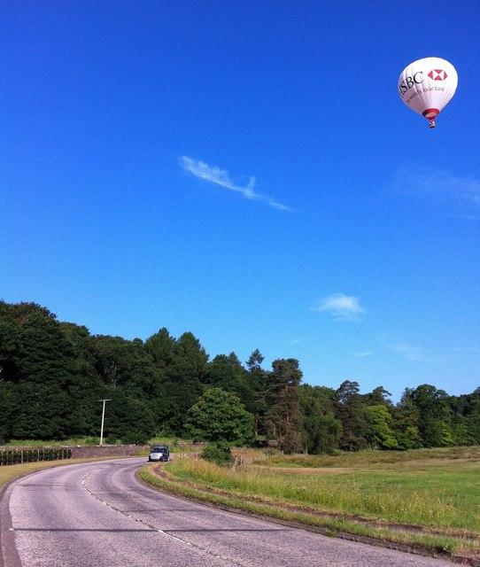 A Hot Air Balloon Passes Keir Mains Wood