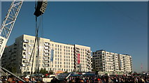 TQ3785 : View of flats in the Olympic Village from the green at the back of the Velodrome #2 by Robert Lamb