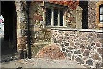 SO7745 : Victorian urine deflector, Priory Gatehouse, Malvern by Bob Embleton