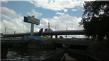 TQ3783 : View of Bow Flyover from the Lea Navigation #2 by Robert Lamb