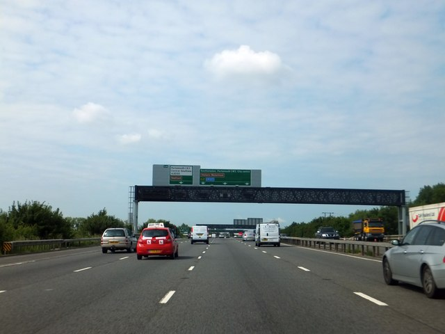 Sign gantry over A27