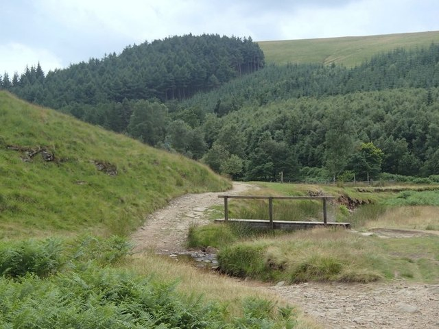Path and footbridge at the foot of Cranberry Clough