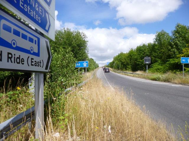 Twyford, motorway slip road