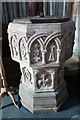 SK9324 : Font, St John the Baptist church, Colsterworth by J.Hannan-Briggs